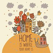 Home concept card. Vector background with houses, snail and flowers
