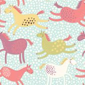 Cute funny seamless pattern with horses. Vector background with running pony. Birthday decoration. C