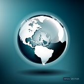 Vector illustration of a glossy globe on a blue background