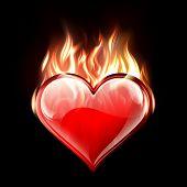 Conceptual vector illustration of a burning heart