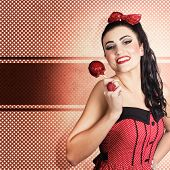 Sweet Candy Pinup Girl With Vintage Toffee Apple