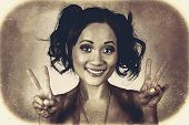 Vintage 50S Asian Woman Showing Peace Sign On Hand