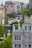 Aerial view of Madrid (Spain) / Famous Alcala Gate, builldings and street / Plaza de la Independencia