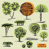 art sketching set 4 of vector trees symbols