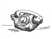Hand drawn old telephone