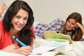 Smiling happy female students preparing for exam