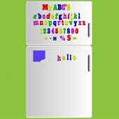 Vector Fridge With Magnet Alphabet Spelling Abc Letters And Numbers Illustration