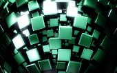 green metal boxes background