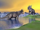stock photo of enormous  - Two einiosaurus dinosaurs arguing in a landscape with water mountains and green grass by sunset - JPG