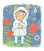 Zodiac sign - Aries. Part of a large colorful cartoon calendar. Sweet boy with small sheep in flower
