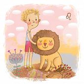 Zodiac sign - Leo. Part of a large colorful cartoon calendar. Cute blond boy with his funny lion in pink colors
