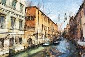 art sketching background with street in Venice, Italy