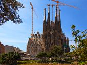 BARCELONA, SPAIN - APR 17, 2013: La Sagrada Familia - the impressive cathedral designed by Antonio G