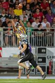 VIENNA, AUSTRIA - JULY 28 WR Laurinho Walch (#81 Vikings) catches the ball on July 28, 2012 in Vienna, Austria.