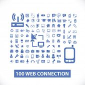 100 web communication, connection icons, signs set, vector