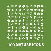 100 nature, ecology, green, biology, environment, vacation, travel icons set, vector