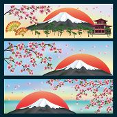 Set Of Horizontal Banners Japanese Style