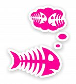 Sad Pink Fish Bone Stickers