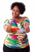 Young Fatty Black Woman Making Thumbs Up Gesture - African People