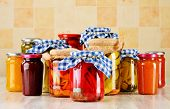 stock photo of jar jelly  - Composition with jars of marinated food - JPG