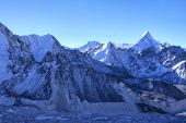 Khumbu Valley with the Himalayan Mountain Range and the outstanding Ama Dablam Mountain in the Sagar