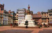 KATHMANDU, NEPAL - 26 MARCH 2010: Yethkha Baha Square and Stupa in Kathmandu, Nepal on 26 March 2010.