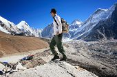 Hiker standing in the Khumbu Valley near the Mount Everest Base Camp in the Sagarmatha National Park