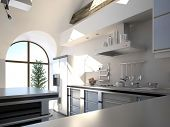 Modern white kitchen interior in a sunny room with half-round window