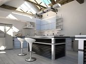 Sunny modern kitchen interior with two bar stools