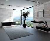 Ultramodern bathroom interior with luxury furniture and marble wall and panoramic view