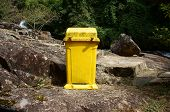 picture of dustbin  - Dustbin at tourist area to remind enviromental protection sense let - JPG