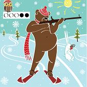 Brown Bear Biathlete Takes Aim.Vector humorous Illustration.