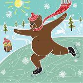 Brown Bear Is Skating On The Skating Rink.Vtctor humorous Illustration