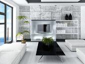 Hochmoderne Loft Wohnzimmer Interieur mit Betonmauer