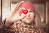 Heart Shape Love Symbol In Man Hand With Face On Background Valentines Day Romantic Greeting People