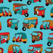 stock photo of rickshaw  - Seamless india tuctuc auto rickshaw illustration background pattern in vector - JPG