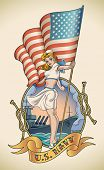 Old-school US Navy tattoo of a sensual pin-up lady with the flag in her hand. Editable vector illust