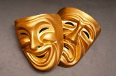 stock photo of comedy  - Masks with the theatre concept - JPG