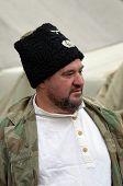 KIEV, UKRAINE -NOV 1: Member of Red Star history club wears historical uniform cossack of Corps von Panvits (German) during historical reenactment of WWII, November 1, 2013 Kiev, Ukraine