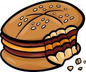 Bitten Cheeseburger Cartoon Clip Art
