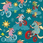 stock photo of pegasus  - seamless pattern with fantasy horses pegasus rides a bicycle in the sky - JPG