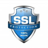 stock photo of risk  - SSL Protection Secure Shield Vector Icon Design - JPG