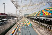 MACAU, CHINA - NOVEMBER 2, 2012: Construction of seats for spectators and preparation track for race