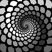 Monochrome Abstract Perspective Spiral Rotation Background In Op Art Design.