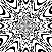 Monochrome Abstract Perspective Funnel Explosion Background In Op Art Design