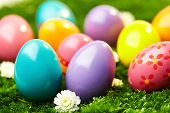 Close-up of colored Easter eggs