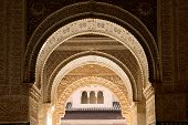 picture of harem  - Moorish arches and columns of Alhambra harem in Granada - JPG