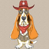 Vector Funny Cartoon Hipster Dog Basset Hound