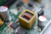 stock photo of capacitor  - Microelectronic circuit board with chips - JPG
