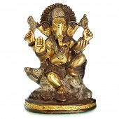 MOSCOW, RUSSIA - FEBRUARY 13, 2013: Figurine of Hindu God Ganesha isolated over white background
